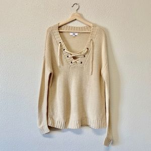 BB Dakota Jack Tie-up Cream Sweater